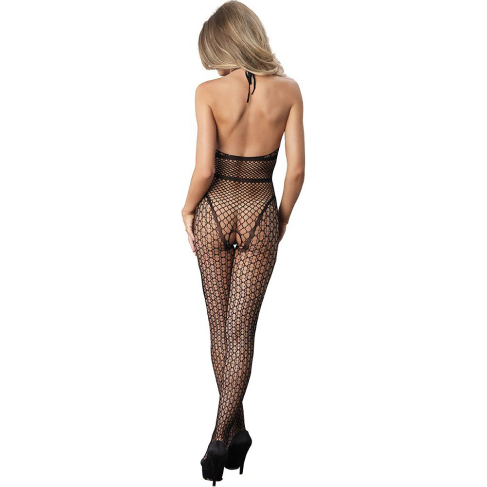 Leg Avenue Crochet Net Halter Bodystocking with Industrial Net Torso One Size Black - View #2