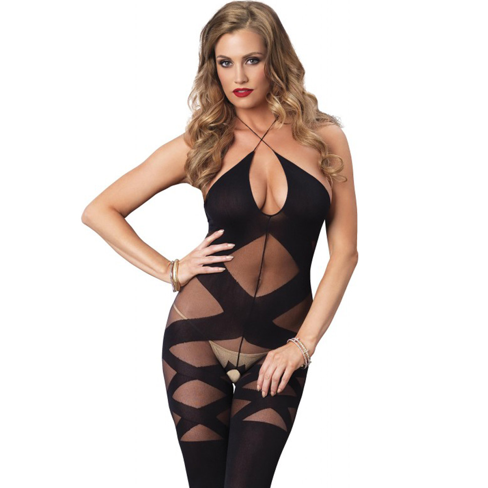 Leg Avenue Opaque and Sheer Illusion Bodystocking with Keyhole Halter One Size Black - View #3