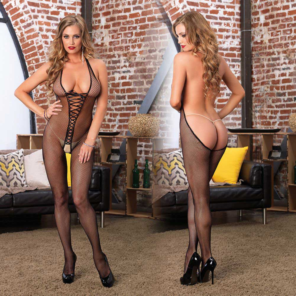 Leg Avenue Bare Bottom Backless Fishnet Halter Lace Up Bodystocking One Size Black - View #4