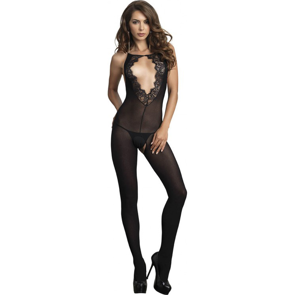 Leg Avenue Opaque Bodystocking with Deep-V Eyelash Lace Keyhole One Size Black - View #1