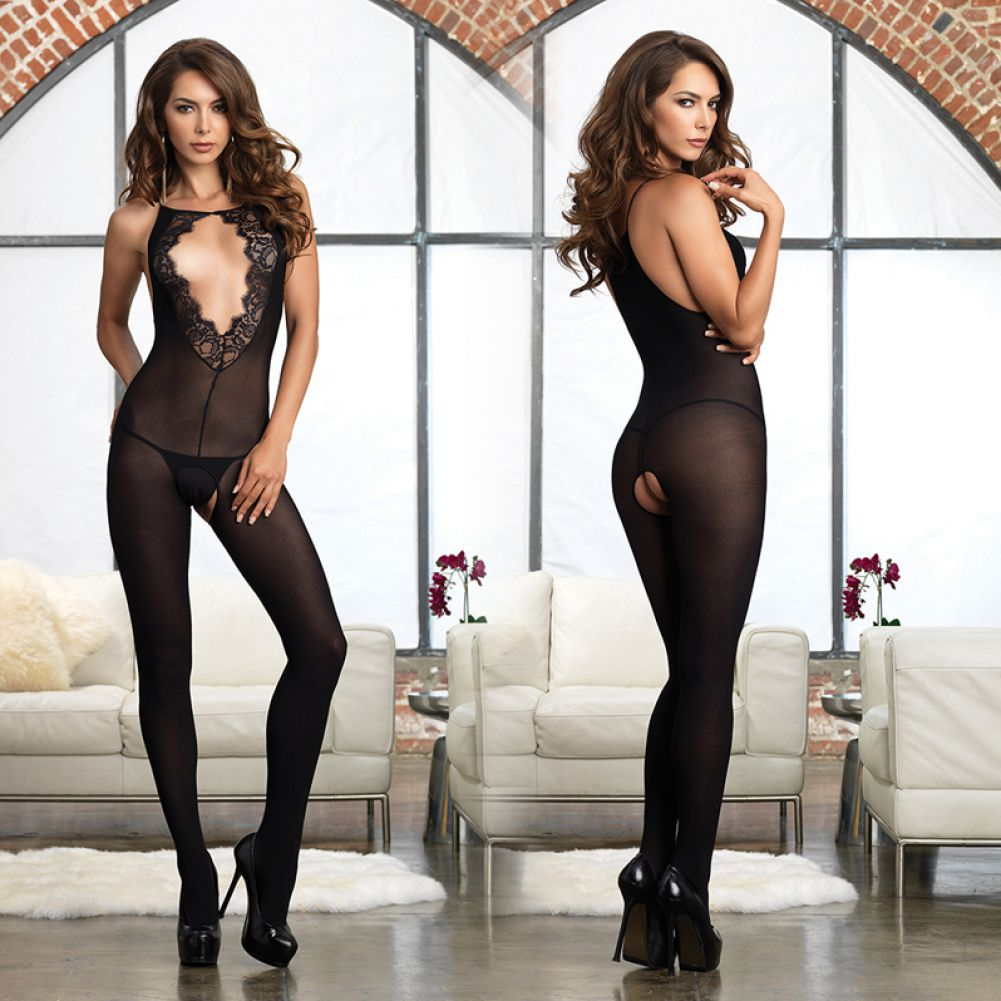 Leg Avenue Opaque Bodystocking with Deep-V Eyelash Lace Keyhole One Size Black - View #3