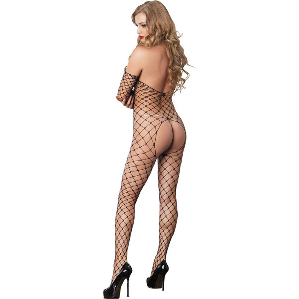 Leg Avenue Fence Net Off the Shoulder Open Bottom Bodystocking One Size Black - View #2