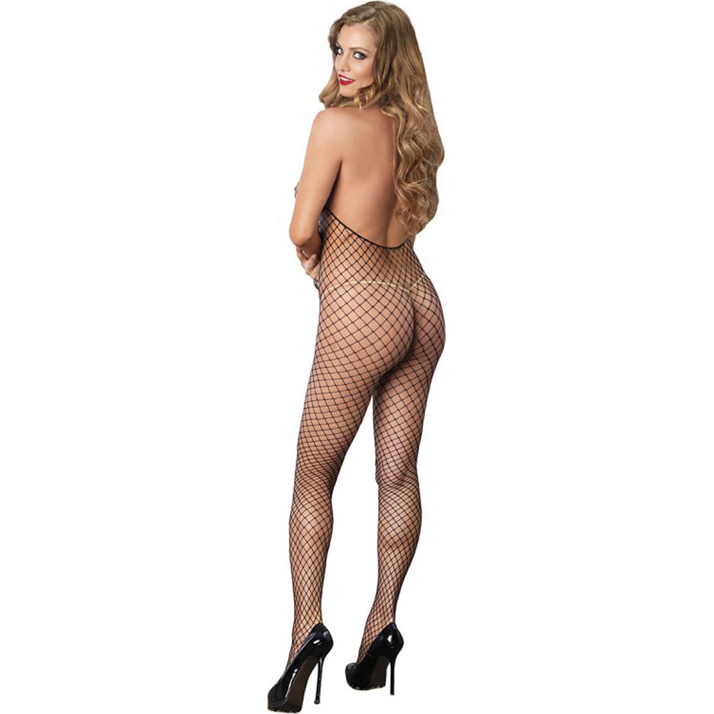 Leg Avenue Industrial Net Deep-V Lace Up Halter Crotchless Bodystocking One Size Black - View #2