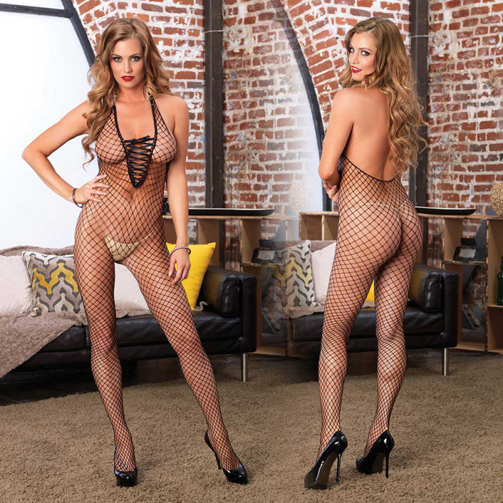 Leg Avenue Industrial Net Deep-V Lace Up Halter Crotchless Bodystocking One Size Black - View #4