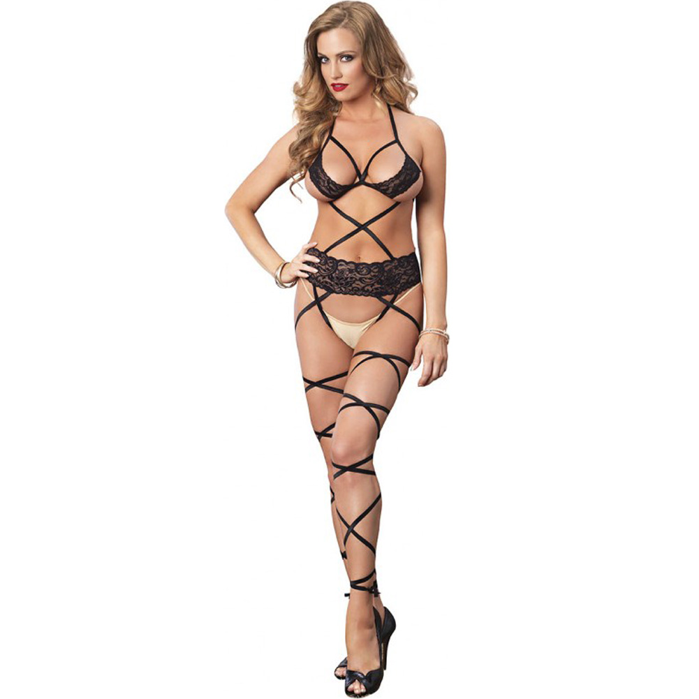 Leg Avenue Lace Cage Strappy Wrap Around Bodystocking One Size Black - View #1
