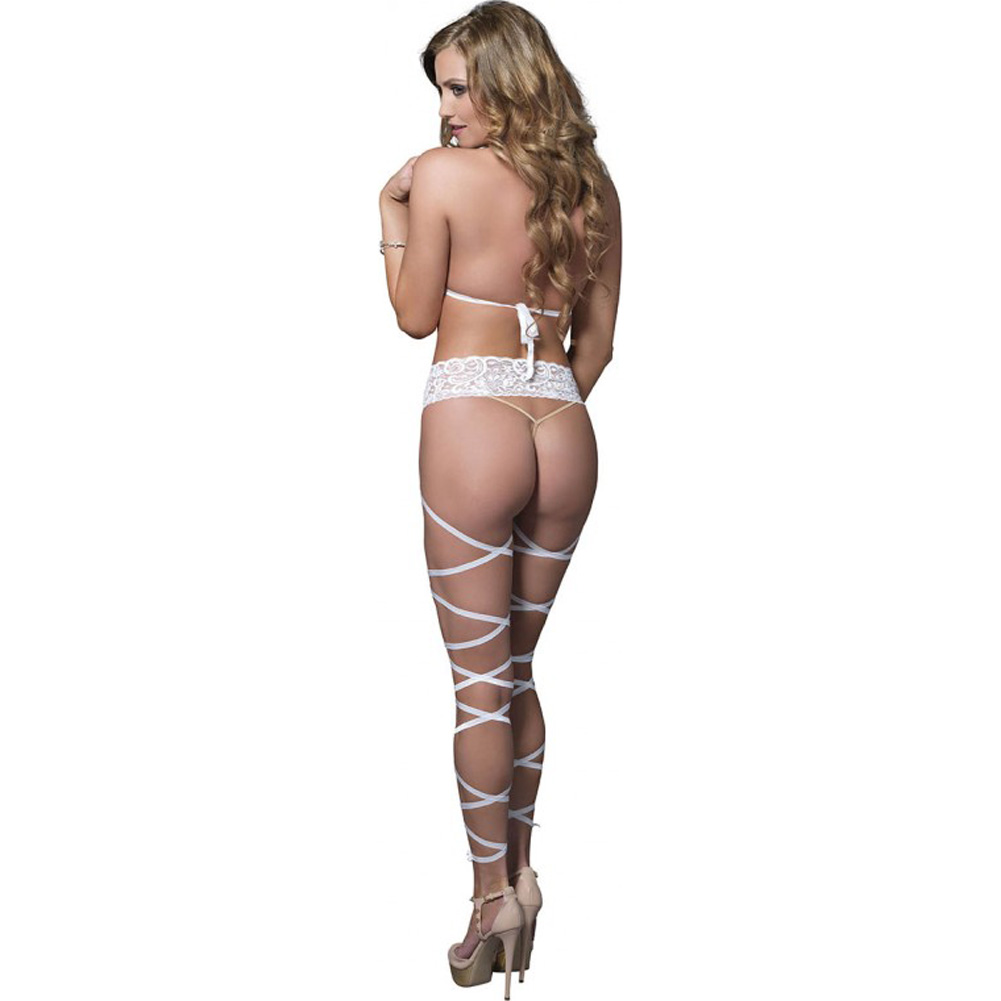Leg Avenue Lace Cage Strappy Wrap Around Bodystocking One Size White - View #2