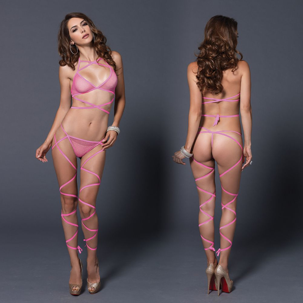 Leg Avenue Wrap Around Fishnet Halter Top and G-String Set One Size Neon Pink - View #3