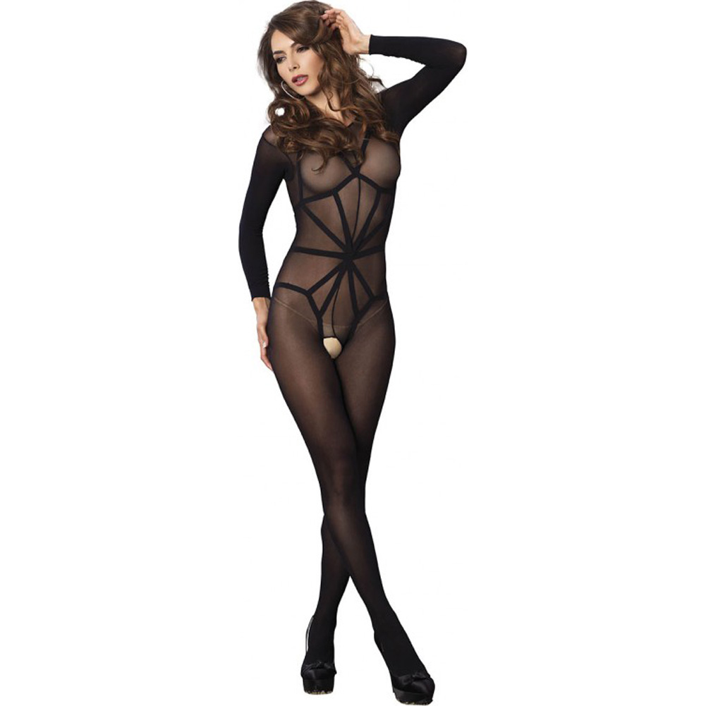 Leg Avenue 2 Piece Opaque Long Sleeve Bodystocking with Harness Teddy Overlay One Size Black - View #2