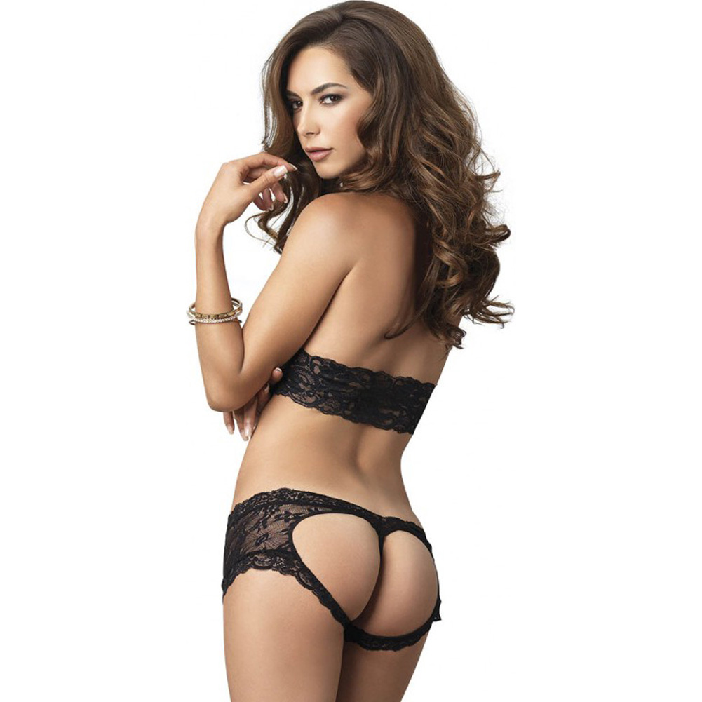 Leg Avenue Lace Halter Bra Top with Matching Cut Out G-String Booty Short Small/Medium Black - View #2