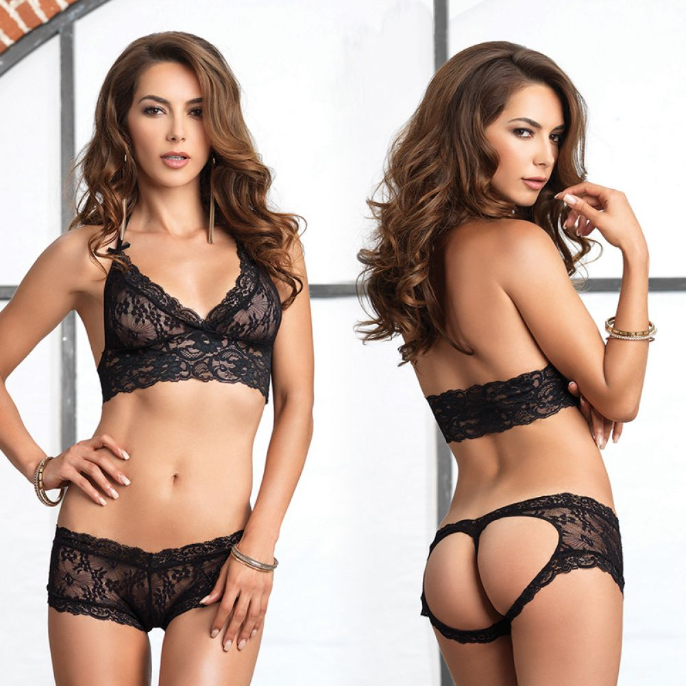 Leg Avenue Lace Halter Bra Top with Matching Cut Out G-String Booty Short Medium/Large Black - View #3