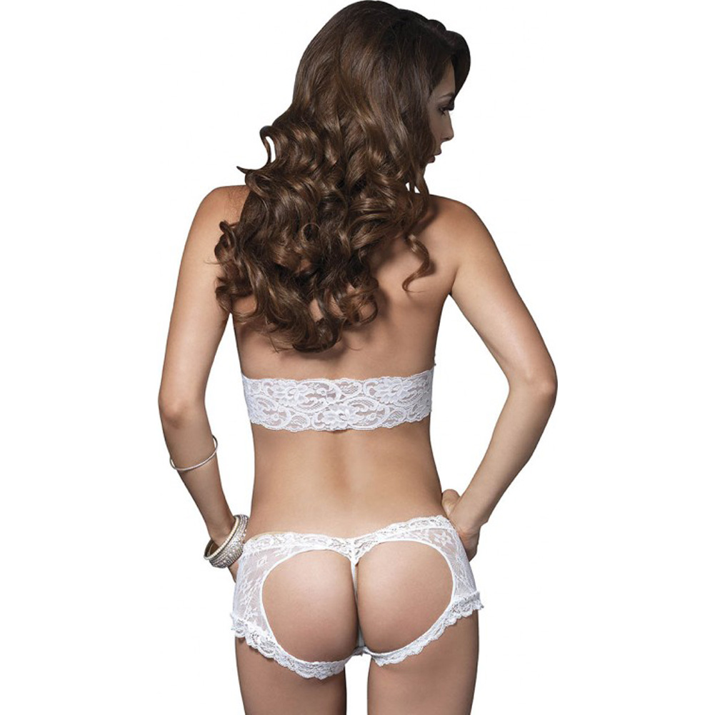 Leg Avenue Lace Halter Bra Top with Matching Cut Out G-String Booty Short Small/Medium White - View #2