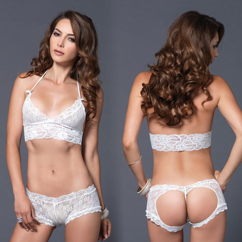Leg Avenue Lace Halter Bra Top with Matching Cut Out G-String Booty Short Small/Medium White - View #4