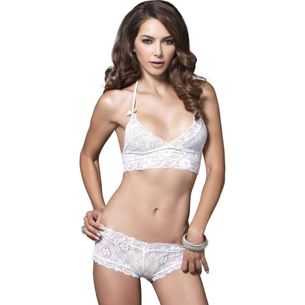 Leg Avenue Lace Halter Bra Top with Matching Cut Out G-String Booty Short Medium/Large White - View #1