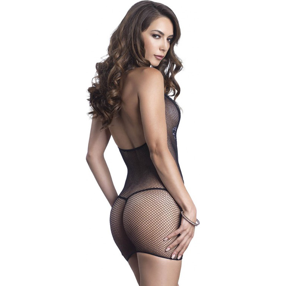 Leg Avenue Fishnet Halter Deep-V Mini Dress with Eyelash Lace Detail One Size Black - View #2