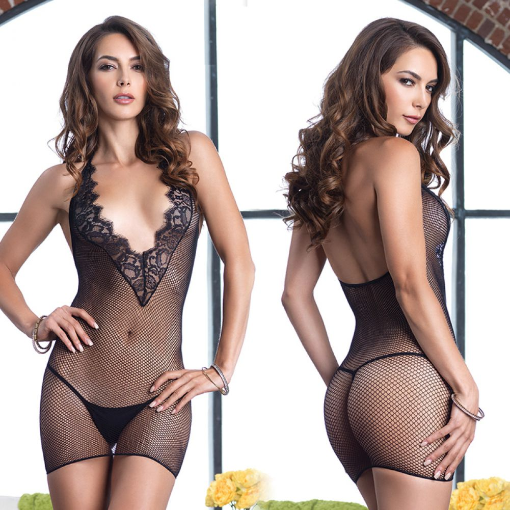 Leg Avenue Fishnet Halter Deep-V Mini Dress with Eyelash Lace Detail One Size Black - View #4