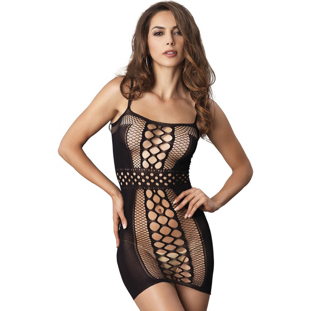 Leg Avenue Seamless Multi Net Mini Dress with Opaque Sides and Belt Detail One Size Black - View #1