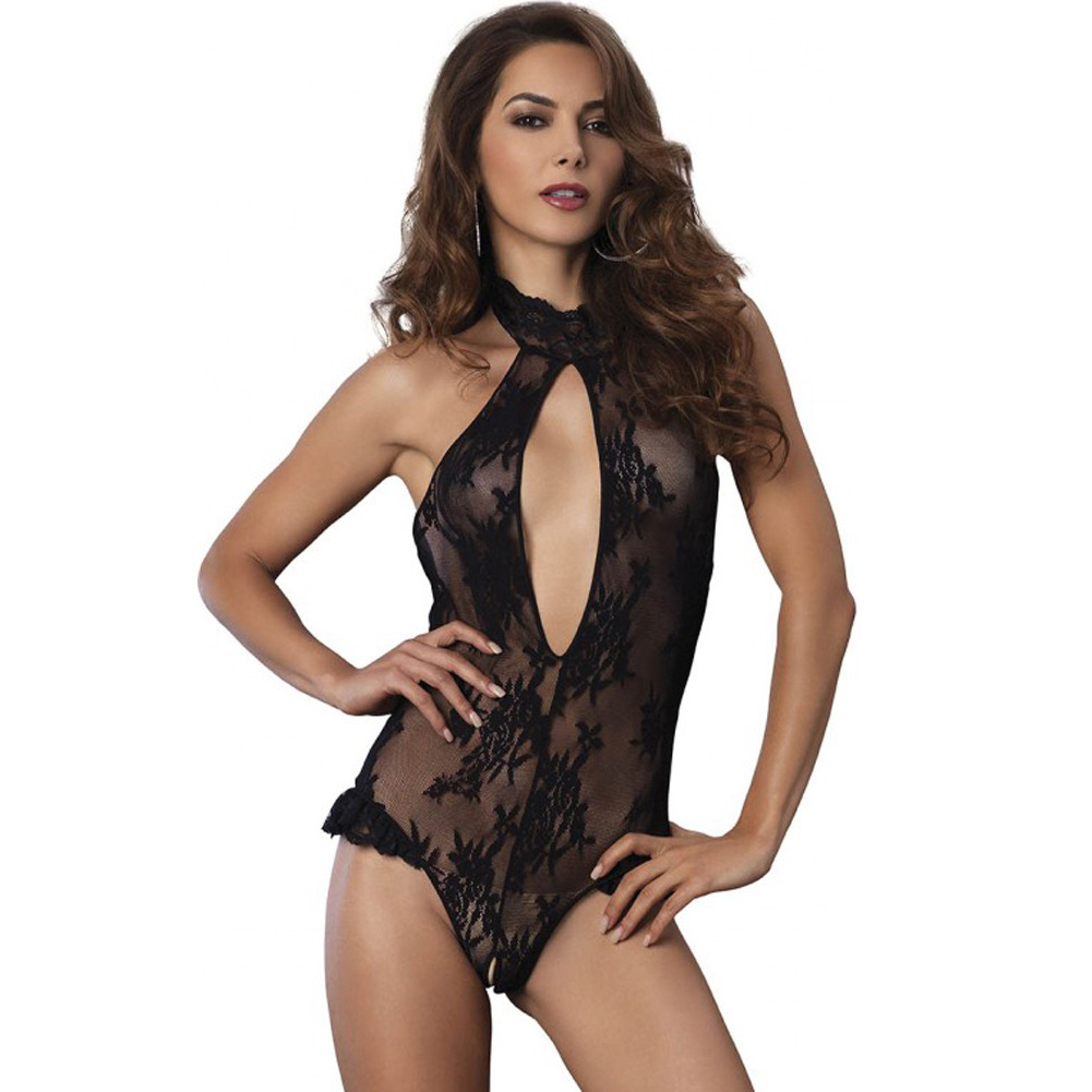 Leg Avenue Floral Lace Deep-V Cutout Crotchless Halter Teddy with Brazilian Back One Size Black - View #1