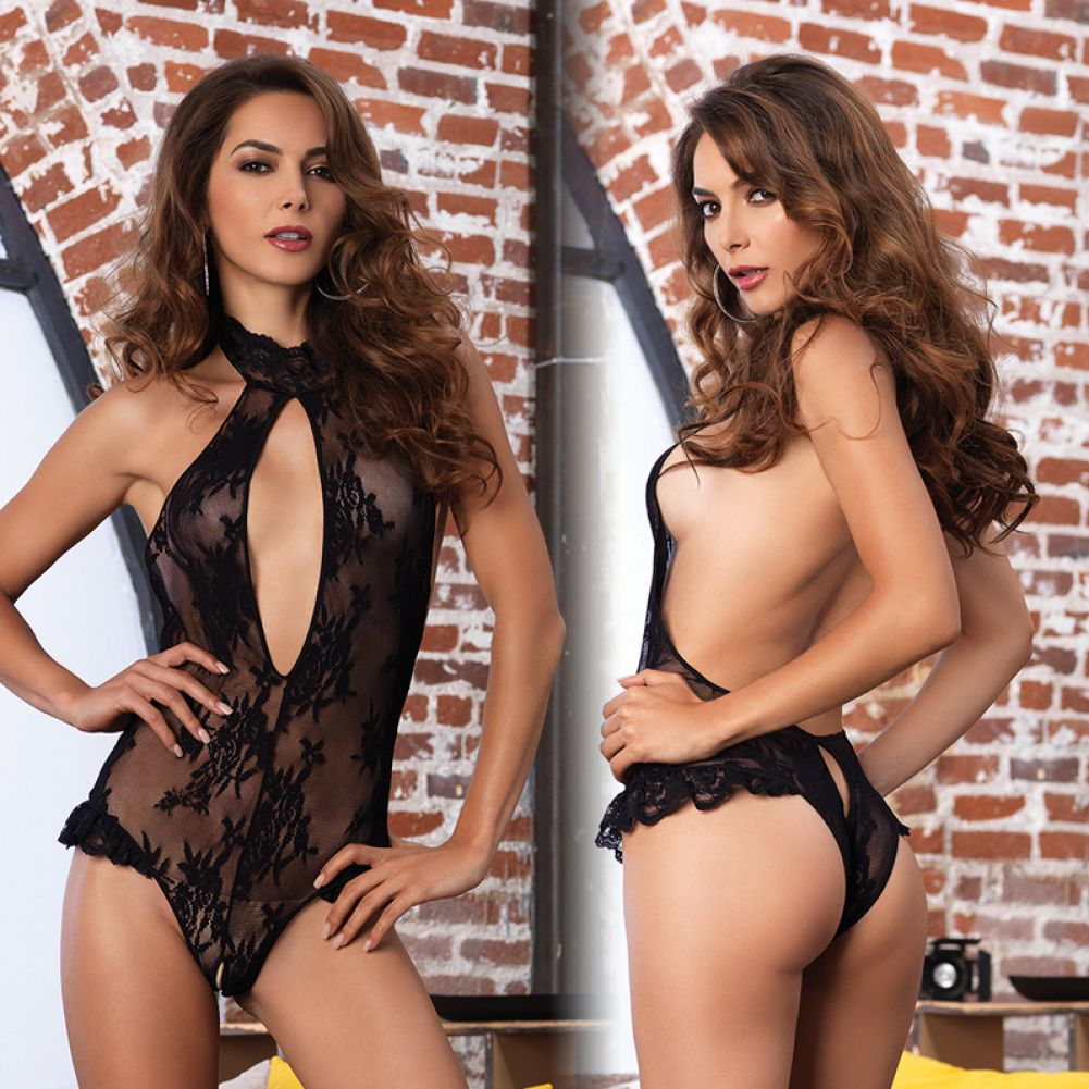 Leg Avenue Floral Lace Deep-V Cutout Crotchless Halter Teddy with Brazilian Back One Size Black - View #3