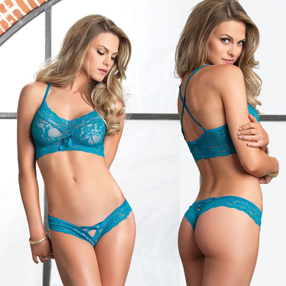 Leg Avenue Lace Halter Bralette and Cutout Thong Set One Size Teal - View #3