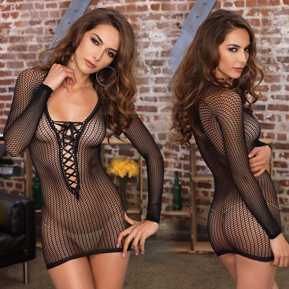 Leg Avenue Long Sleeve Lace Up Fishnet Mini Dress One Size Black - View #3