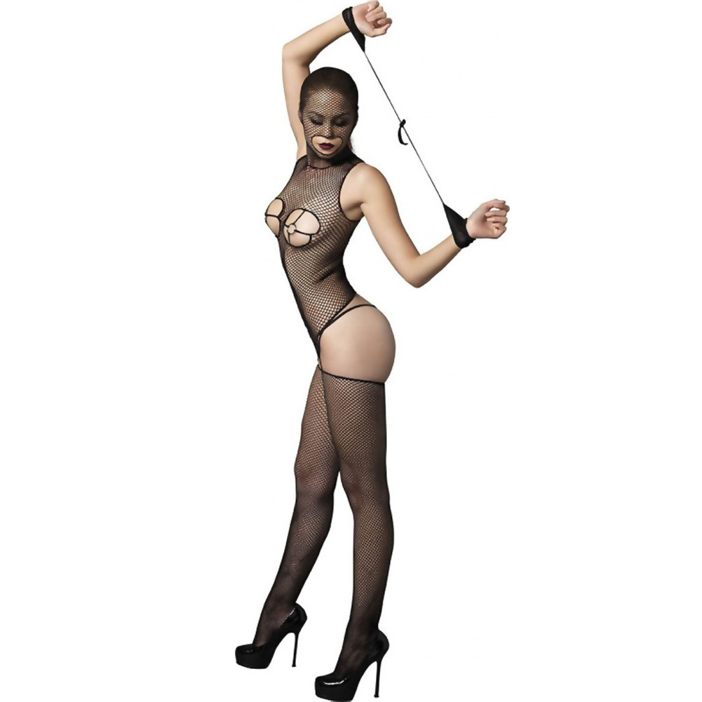 Kink Collection Fishnet Masked Bodystocking with O-Ring Cups and Restraints One Size Black - View #2