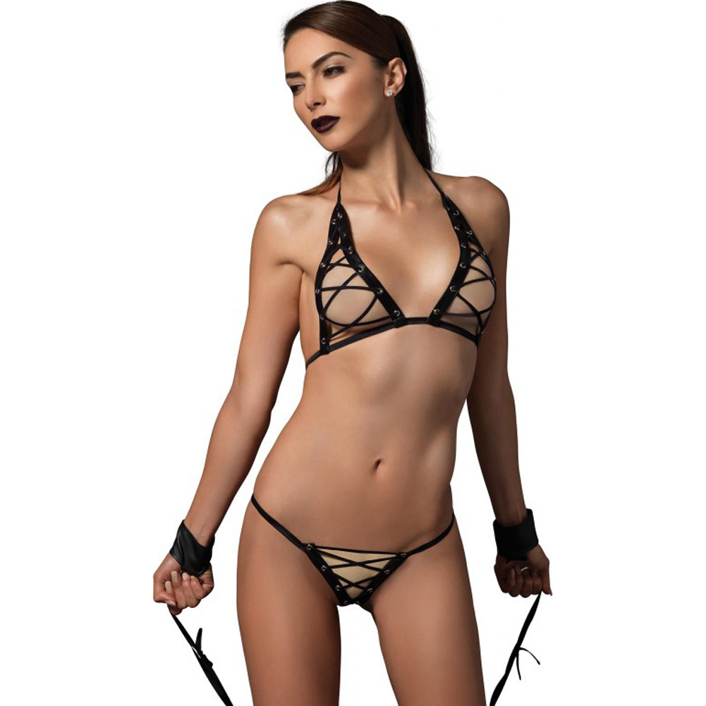 Kink Collection 3 Piece Wet Look Grommet Lace Up Bra G-String and Restraints One Size Black - View #1