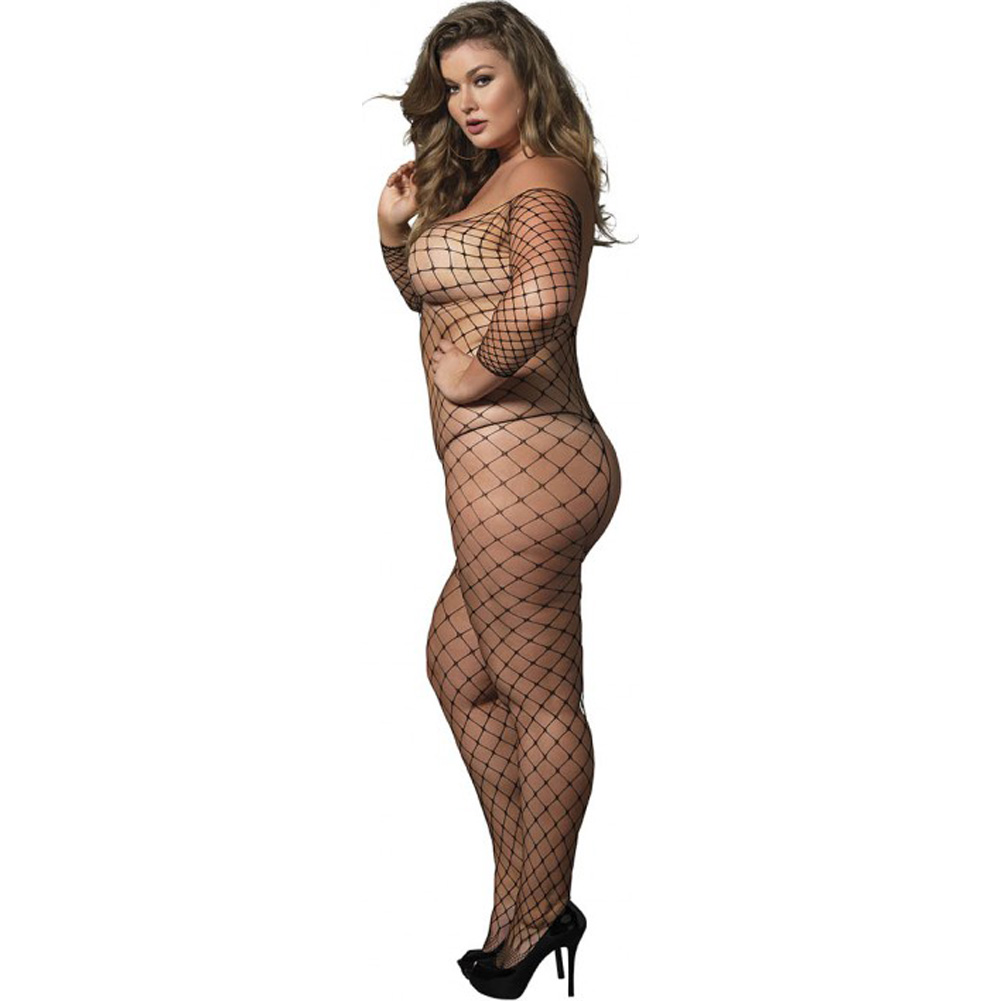 Leg Avenue Fence Net Off The Shoulder Body Stocking Queen Size Black - View #2