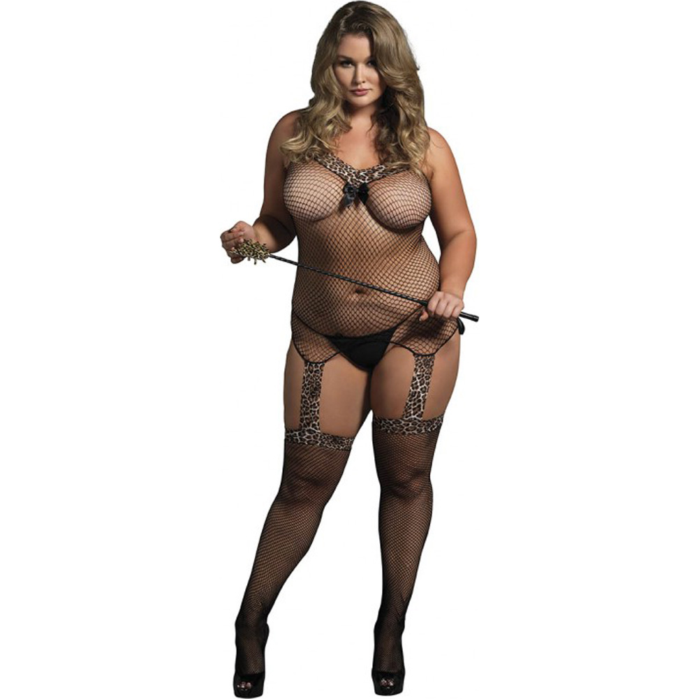 Leg Avenue Reversible Fishnet Lace Up Bodystocking Queen Size Leopard Print/Black - View #1