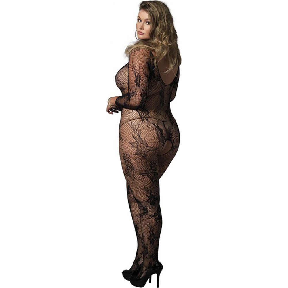 Leg Avenue Seamless Floral Lace Fishnet Long Sleeve Bodystocking Queen Size Black - View #2