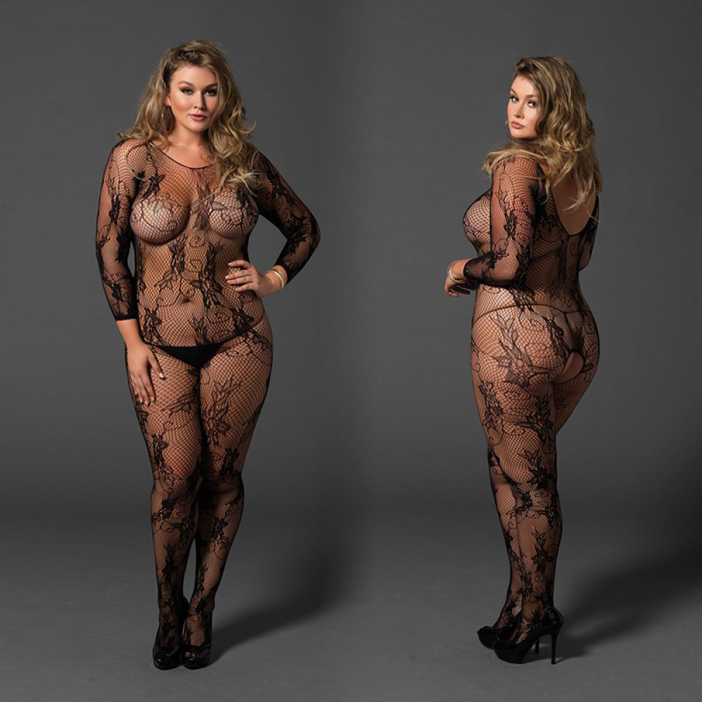 Leg Avenue Seamless Floral Lace Fishnet Long Sleeve Bodystocking Queen Size Black - View #4