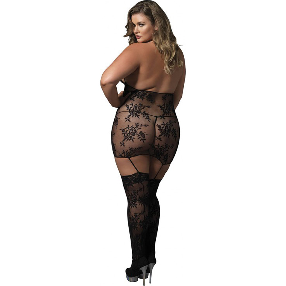Leg Avenue Floral Lace Cage Strap Suspender Bodystocking Queen Size Black - View #2
