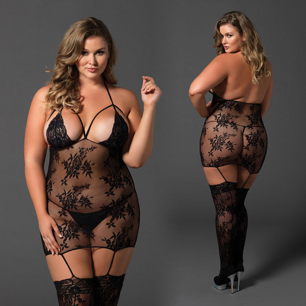 Leg Avenue Floral Lace Cage Strap Suspender Bodystocking Queen Size Black - View #4