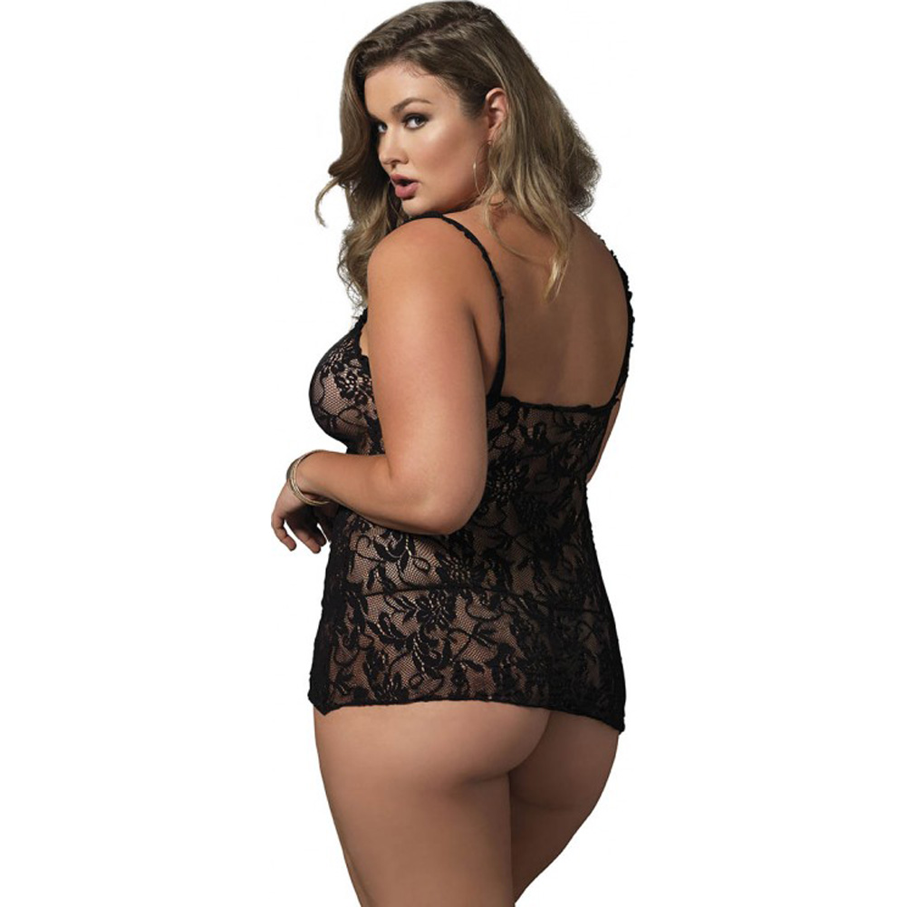 Leg Avenue Floral Stretch Lace Keyhole Chemise Queen Size Black - View #2