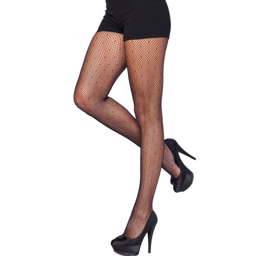 Leg Avenue Starlet Dotted Spandex Pantyhose One Size Black - View #1