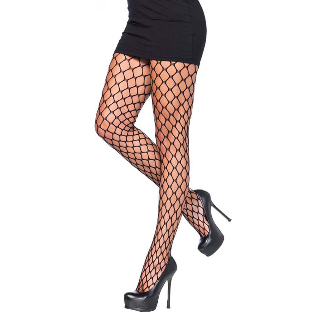 Leg Avenue Sharp Edge Scale Net Pantyhose One Size Black - View #1