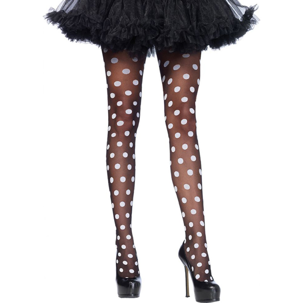 Leg Avenue Sheer Polka Dot Pantyhose One Size Black/White - View #1