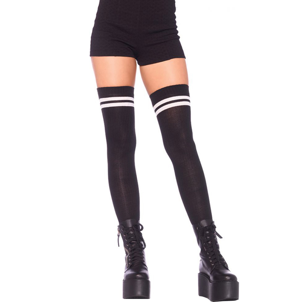 Leg Avenue Ribbed Athletic Thigh Highs One Size Black/White - View #1