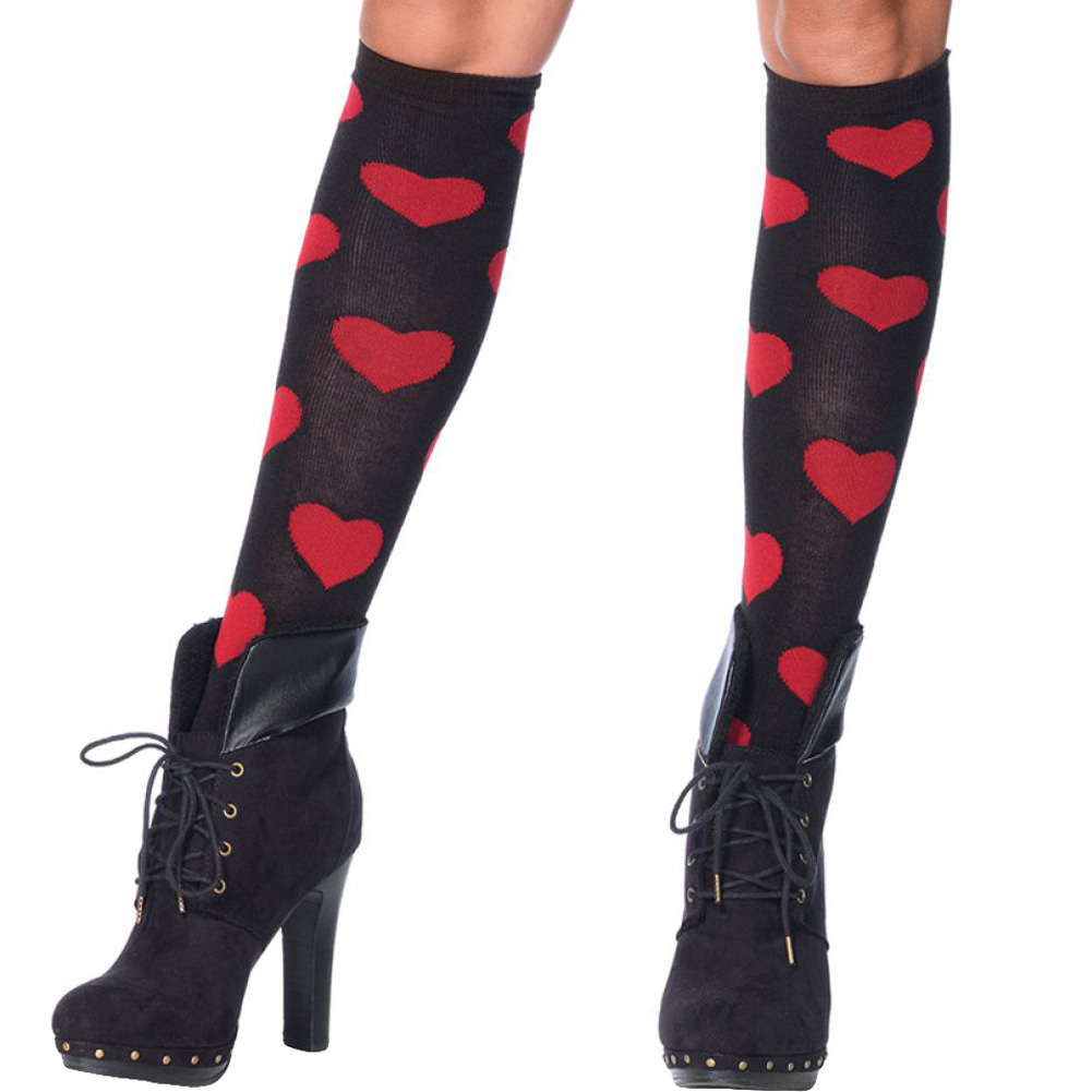 Leg Avenue Love Sick Heart Knee High Socks One Size Black/Red - View #1