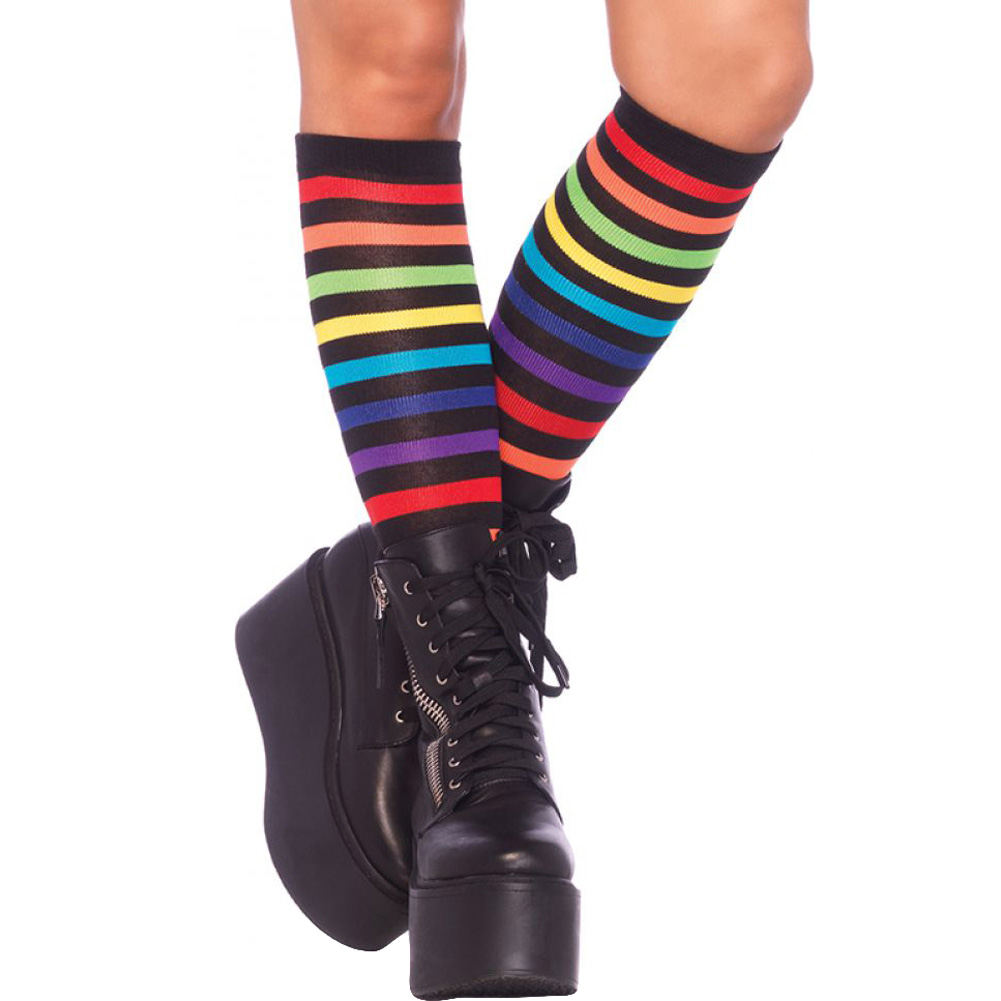 Leg Avenue Rainbow Striped Knee High Socks One Size - View #1