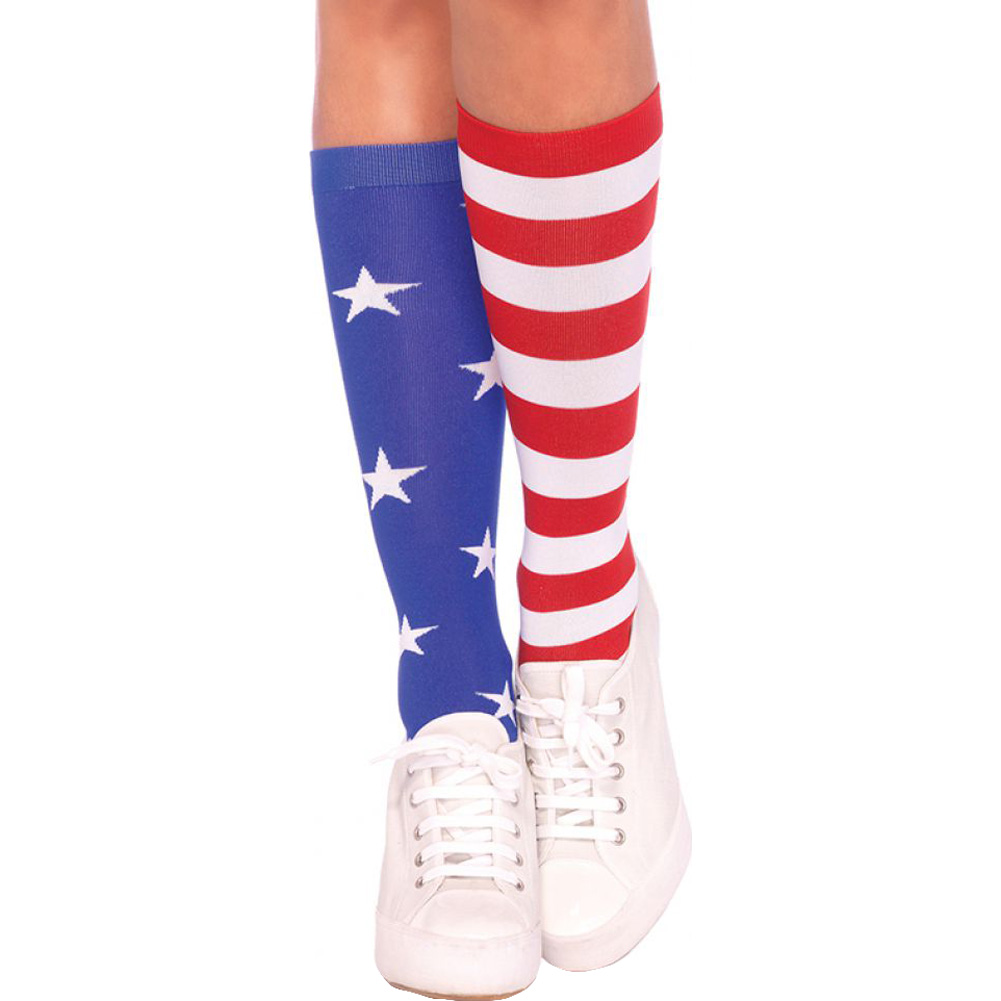 Leg Avenue Patriotic Stars and Stripes American Flag Knee Highs One Size Red White and Blue - View #1