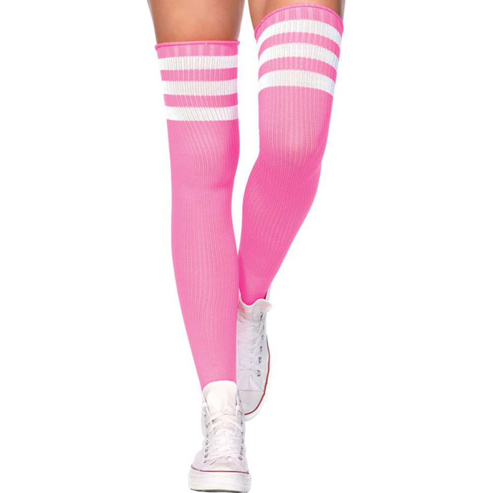 Leg Avenue Athlete Thigh High Socks with 3 Stripe Top One Size Neon Pink - View #1