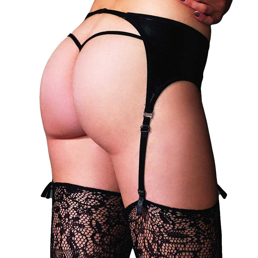 Leg Avenue Wet Look Garter Belt One Size Black - View #2