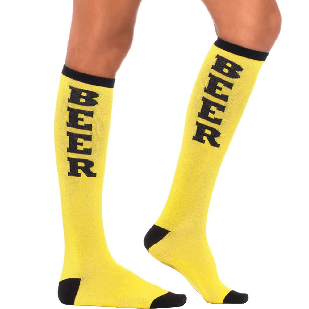 Leg Avenue Beer Run Knee Socks One Size Yellow/Black - View #1