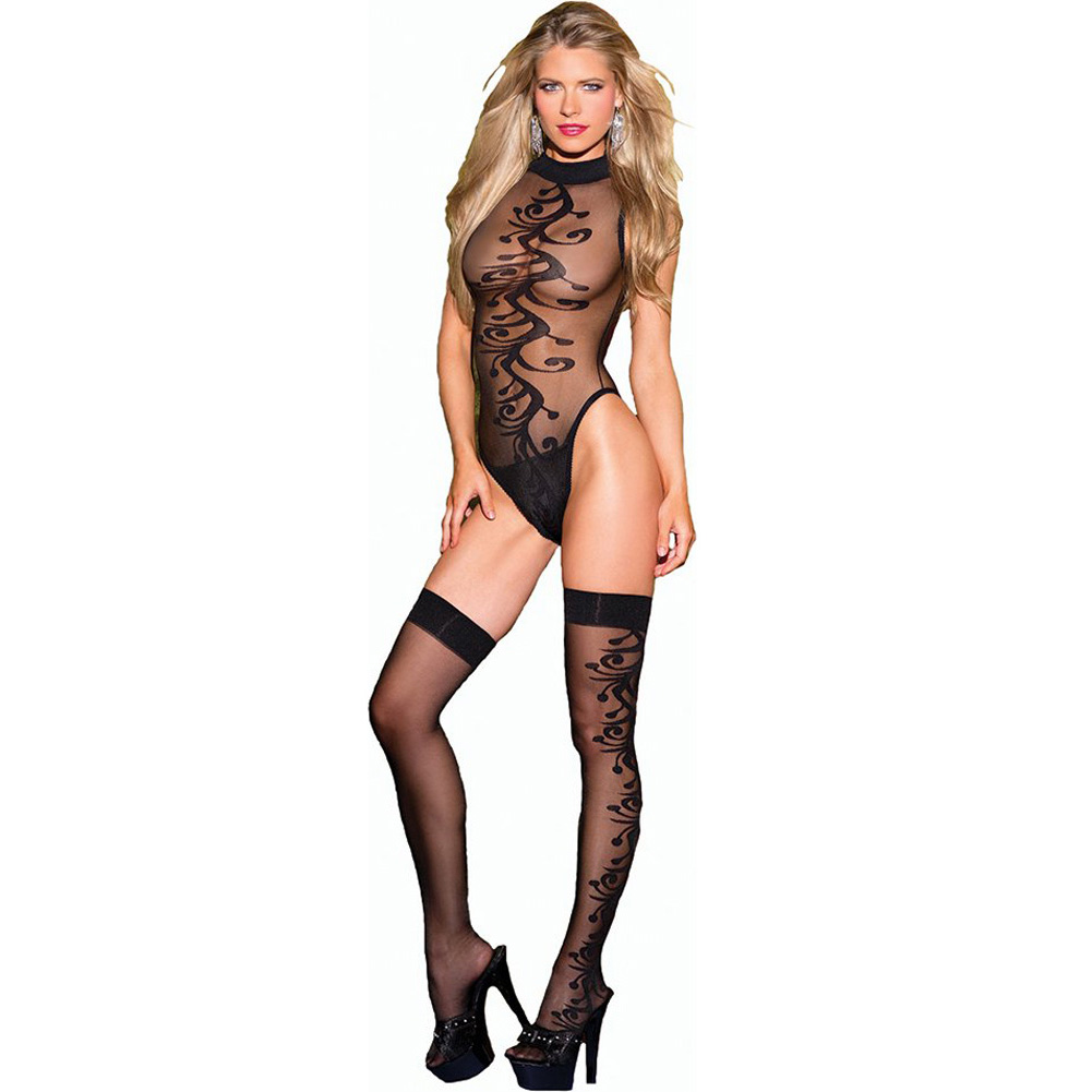 Be Wicked Jacquard Swirl Pattern Teddy Set Wtih Sexy Thigh Highs Queen Size Black - View #1