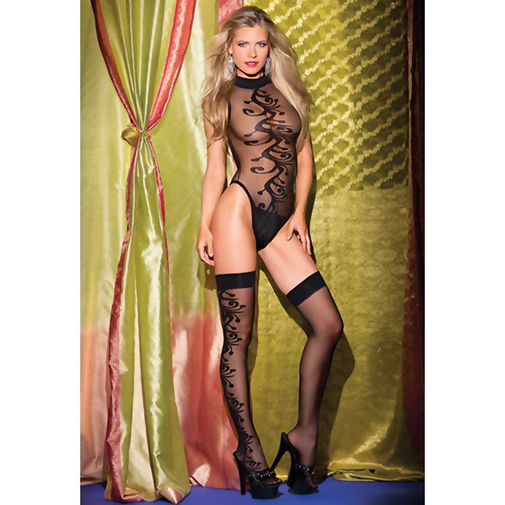 Be Wicked Jacquard Swirl Pattern Teddy Set Wtih Sexy Thigh Highs Queen Size Black - View #3