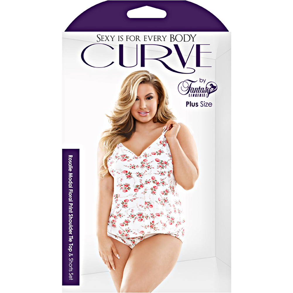 Curve Rosalie Shoulder Tie Cami Top and Shorts Set 1X/2X Plus Size Floral Print - View #3