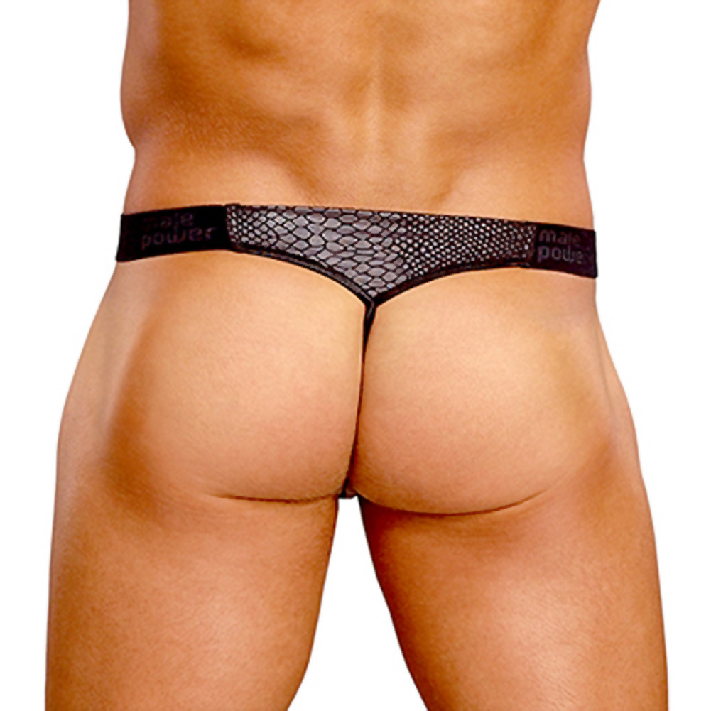 Male Power Cobra V String Thong Small/ Medium Black and Grey - View #2