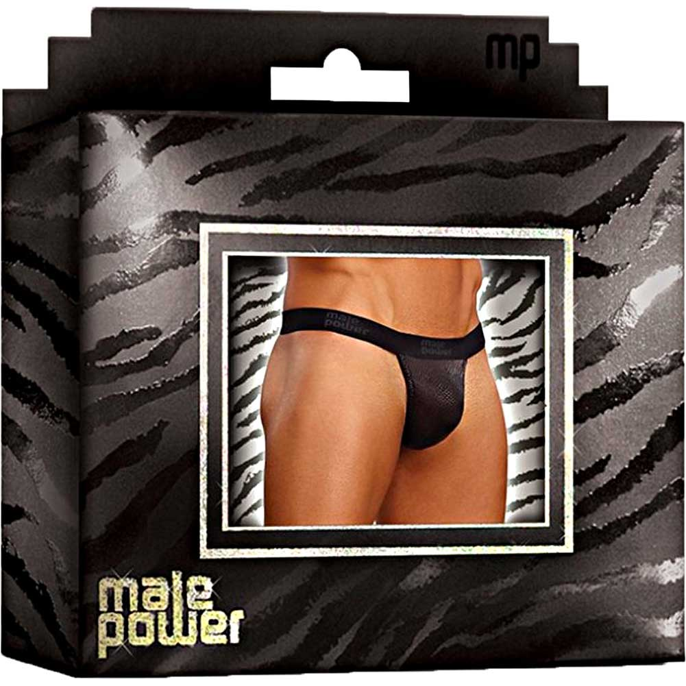 Male Power Cobra V String Thong Small/ Medium Black and Grey - View #4