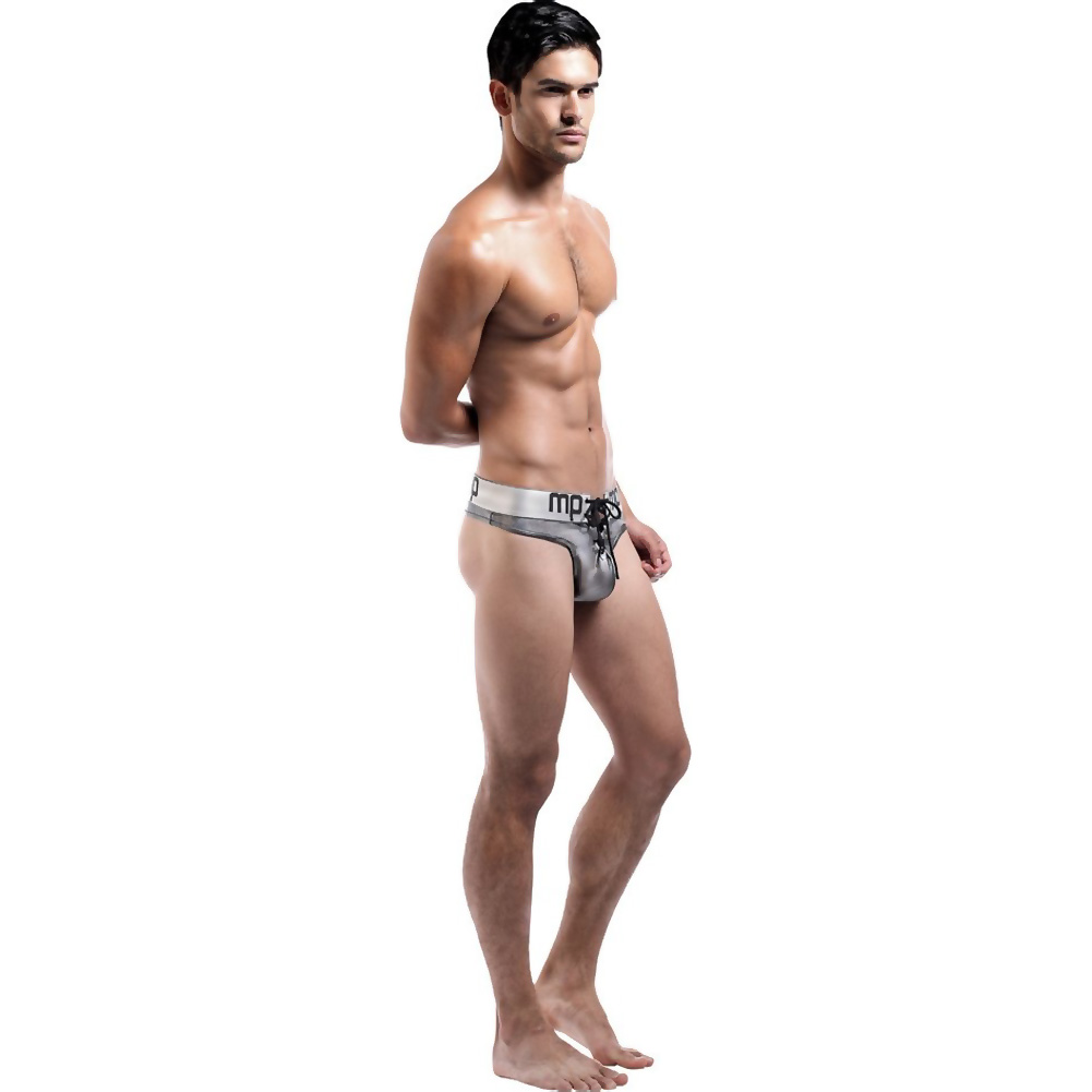 Male Power Molten Steel Lace Up Thong Small/ Medium Silver - View #3