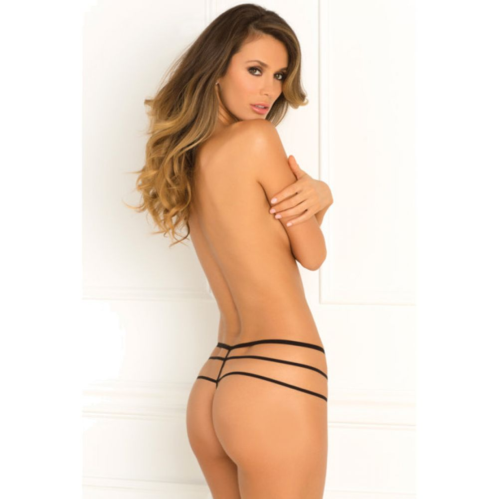 Rene Rofe Wanted and Wild Crotchless Panty Medium/ Large Black - View #2
